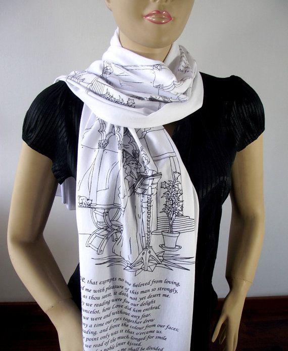 DANTE ALIGHIERI Scarf Literary Scarf The by LiteraryArtPrints  #booklovers #scarf