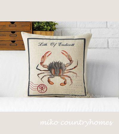 Throw Pillow Cover   Vintage Crab Illustration   Decorative Burlap Pillow Cover   45x45cm 18x18   Modern Rustic Home Décor