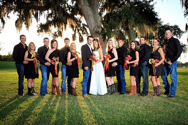 Mrs. Sand Dollar's wedding party in blue jeans and boots. A casual and country bridal party