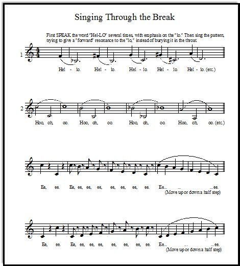 Vocal Warm-Up Exercises for Bridging Head to Chest Voice. Let's not call it a break...nothing is broken!