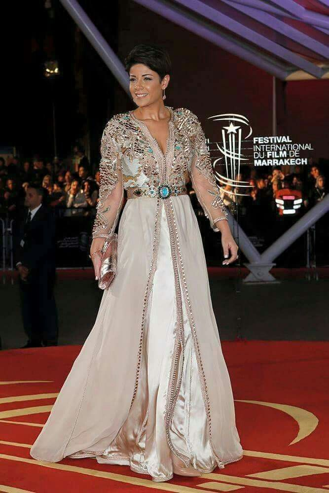 leila Hadioui wearing a beautiful Moroccan Takchita Caftan