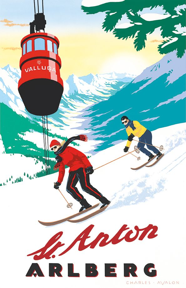PEL132: [NEW] 'St. Anton: Majestic Valley' - by Charles Avalon - Vintage travel posters - Winter Sports posters - Art Deco - Arlberg - St.Anton - Pullman Editions