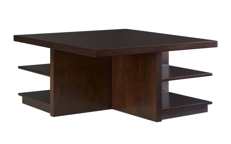 Selected Coffee Table for Living room: Candice Olsen like that it has cubes and storage worry too small square Voila Cocktail Table SKU #: HH20-602-ES  Espresso finish. Please see HH20-602-HP for Pekoe finish. Ottomans sold separately. Outer Dimensions: Width: 41 in x Depth: 41 in x Height: 20 in