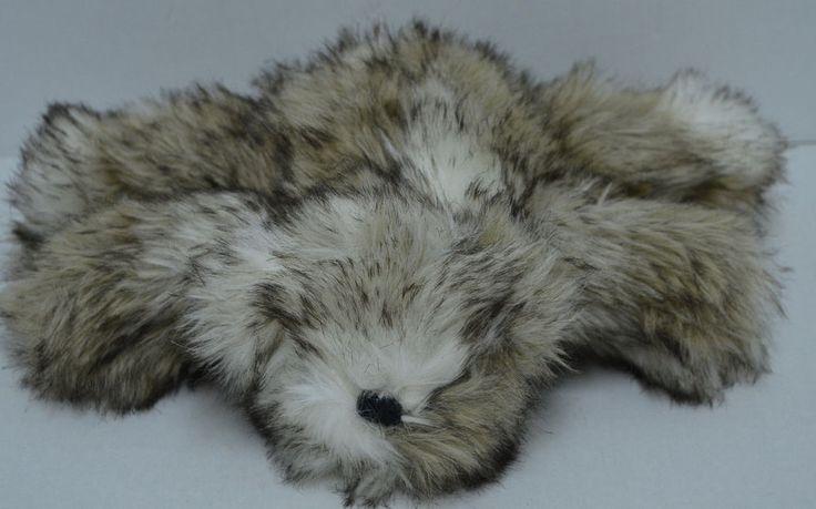 "Pottery Barn Faux Fur Bear Plush Laying Brown Cream Bean Bag 9"" #PotteryBarn"