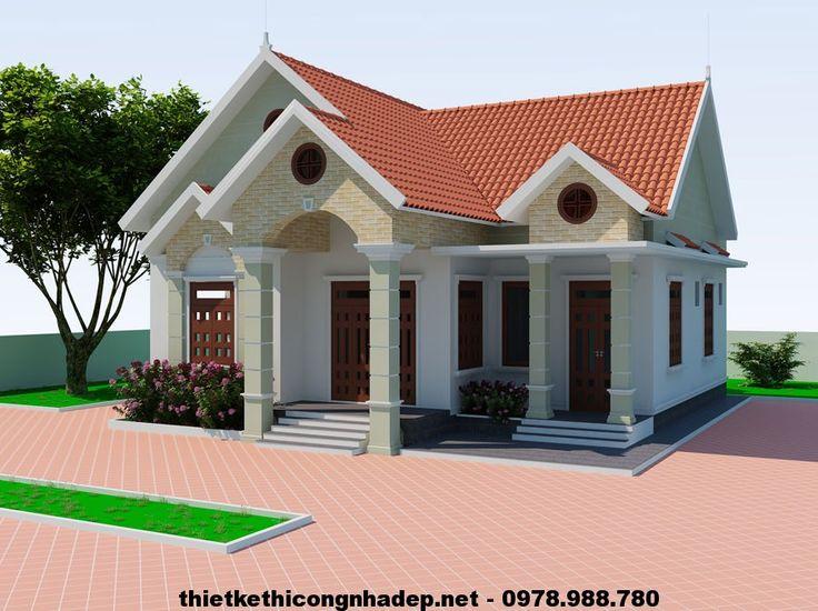 Thiết kế biệt thự 1 tầng, biệt thự 1 tầng mái thái NDBT1T6