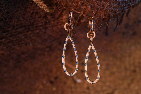 18K Rose Gold Drop Earrings set with Natural by ZEHAVAJEWELRY