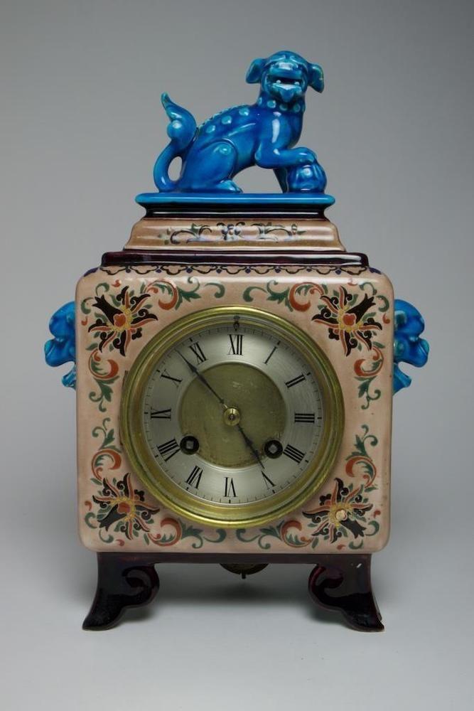 Antique Jules Vieillard pottery Chinese inspired clock circa 1880