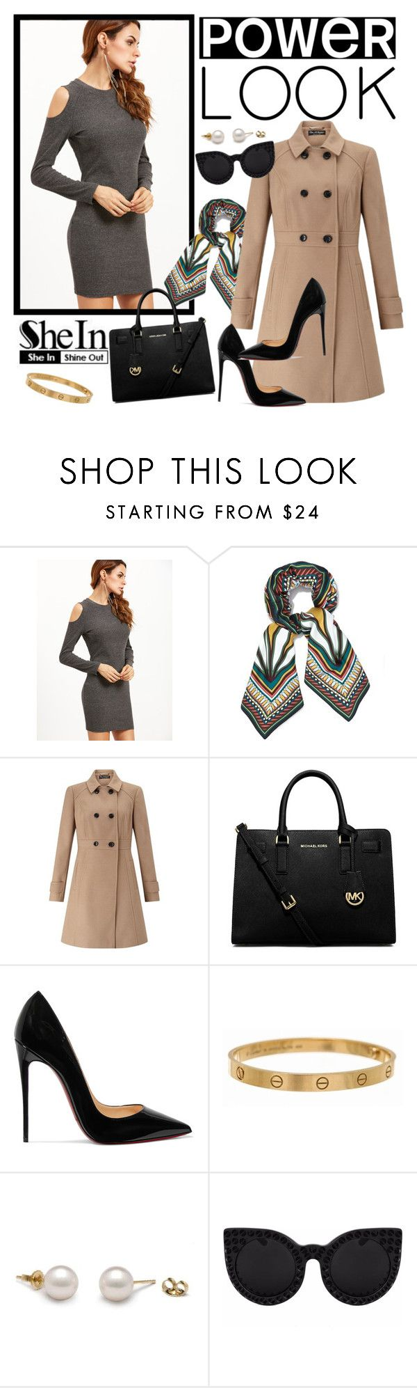 """""""Grey bodycon dress - Shein"""" by barbie-bernard ❤ liked on Polyvore featuring Tory Burch, Miss Selfridge, MICHAEL Michael Kors, Christian Louboutin, Cartier and Delalle"""