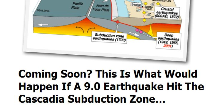 http://endoftheamericandream.com/archives/coming-soon-this-is-what-would-happen-if-a-9-0-earthquake-hit-the-cascadia-subduction-zone  If you live in the Pacific Northwest, you have probably already heard of the Cascadia Subduction Zone.  It is where the Juan de Fuca plate meets the North American plate, and it stretches approximately 700 miles from northern Vancouver Island all the way down to northern California.  This subduction zone is capable of producing far more powerful earthq..