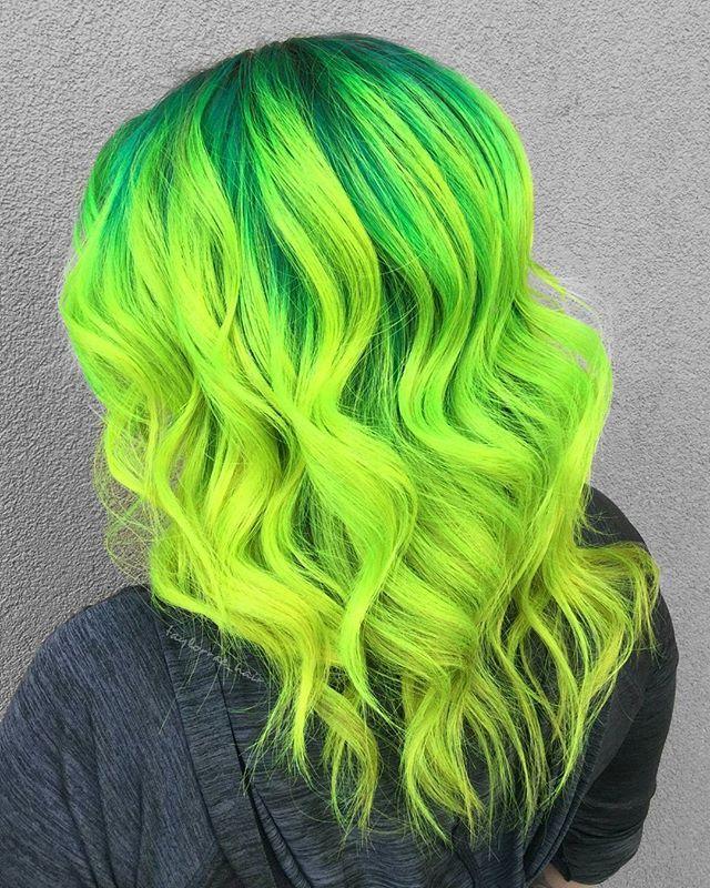 WEBSTA @ taylorrae_hair - E L E C T R I C  L I M E. . The tone in @pravana neons is insane . . #behindthechair #btconeshot_vibrant17 #btconeshot_hairpaint17 #btconeshot_colormelt17  #btconeshot_unconventionalcolor17