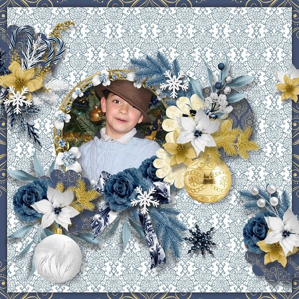 """Template """"Sunday morning"""" de Pat's scrap  http://digital-crea.fr/shop/index.php?main_page=product_info&cPath=155_489&products_id=26098  avec le kit """"A blue christmas"""" de Scrap'Angie   http://digital-crea.fr/shop/index.php?main_page=product_info&cPath=155_319&products_id=25966"""