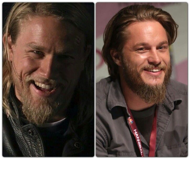 Boy these two could be brothers! Charlie Hunnam(SOA) and Travis Fimmel(Vikings)