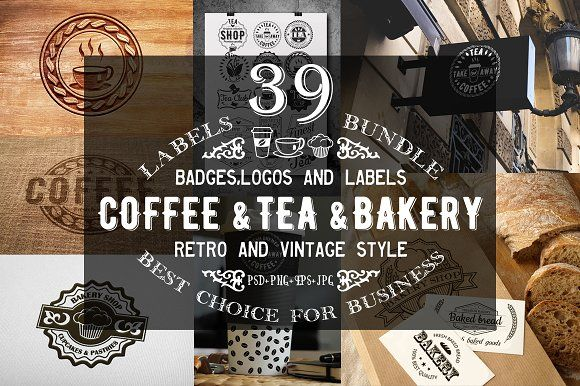 39 Coffee,Tea and Bakery logo bundle  @creativework247