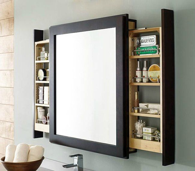 14 Hidden Storage Ideas For Small Spaces. Top 25 ideas about Bathroom Mirrors on Pinterest   Framing a