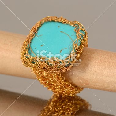 Crochet Wire Ring with Howlite Royalty Free Stock Photo