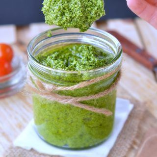 Cashew Pesto Vegan recipe with basil, kale or spinach, olive oil and garlic. A d…