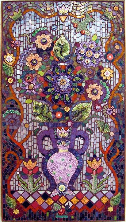 Patricia Karr and Pamela Studstill, Texas Mosaic Artists ~ Wild Heliotrope Bouquet