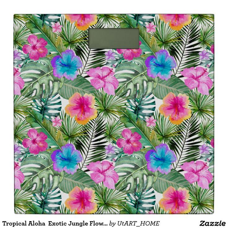 Tropical Aloha  Exotic Jungle Flowers Bathroom Scale
