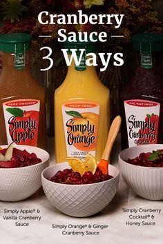 Make this Thanksgiving your sauciest yet with three beautifully simple takes on classic cranberry sauce. Using the delicious, fresh flavors of Simply Beverages you can create unique combinations and put a sauce on the table that's anything but typical -- like Simply Apple® & Vanilla Cranberry Sauce or Simply Cranberry® Cocktail & Honey Sauce.