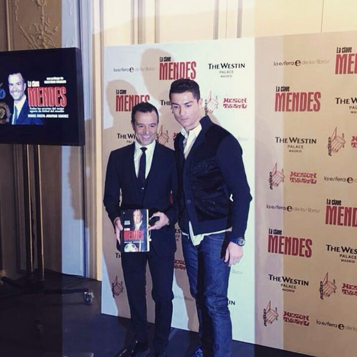 James Rodriguez, Cristiano Ronaldo, & Florentino Perez present at Jorge Mendes' book presentation in Madrid.