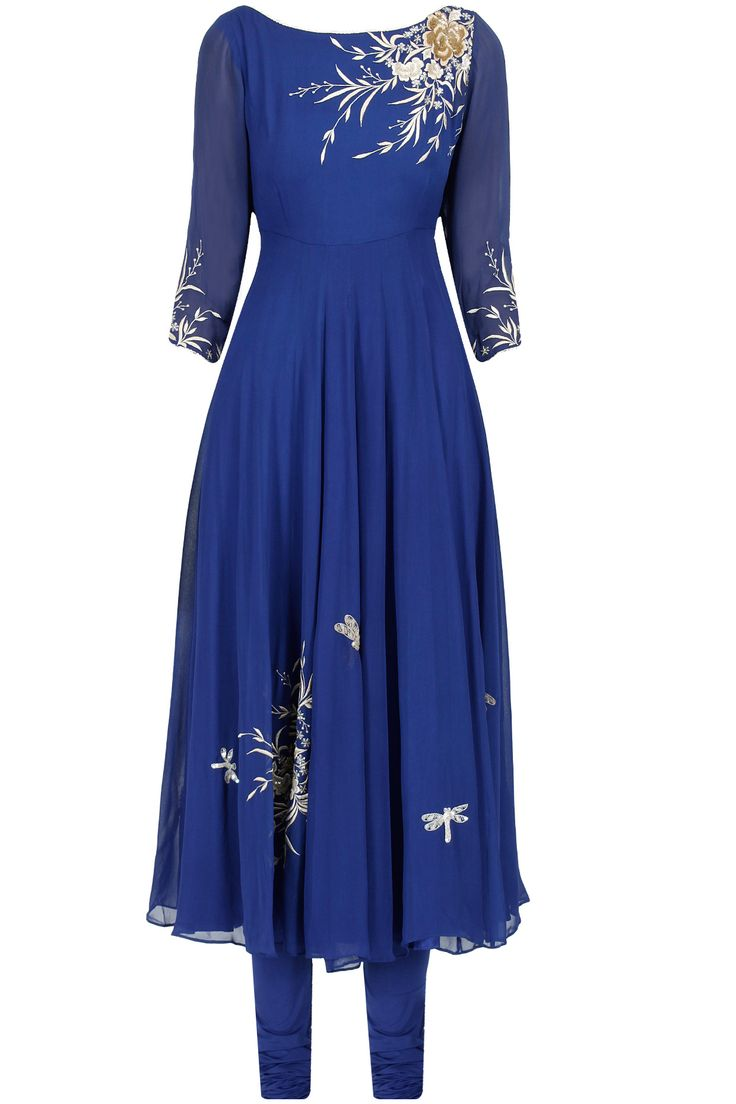 Royal blue floral thread embroidered anarkali set by DILNAZ KARBHARY. Shop now only at www.perniaspopups... #perniaspopupshop #royalblue #blue #tulips #embroidered #anarkali #ethnic #fashion #love #want #dilnazkarbhary #shopnow #happyshopping