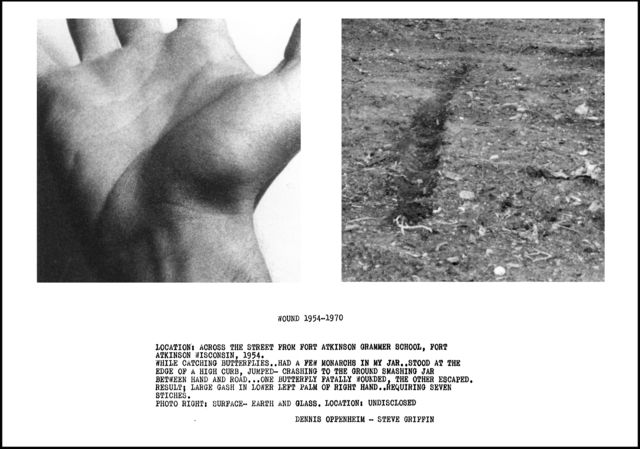 Dennis Oppenheim, Wound 1954-1970, 1970 Black and white photography and text. 40 × 60 × 2 in, 101.6 × 152.4 × 5.1 cm