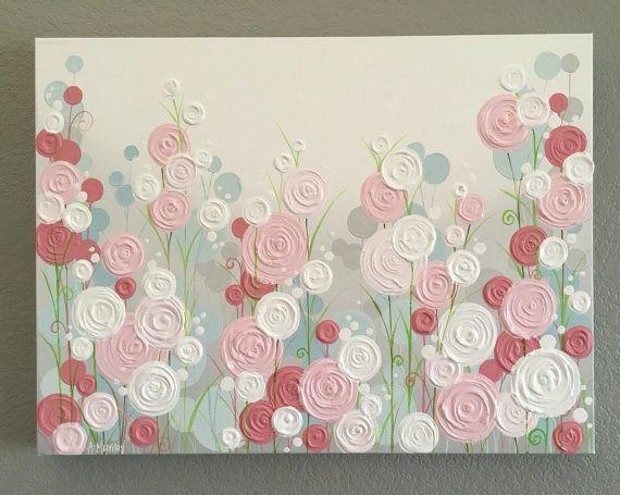 Rose, bleu et gris texturé pépinière moderne peinture, cercle de fleurs, sur mesure