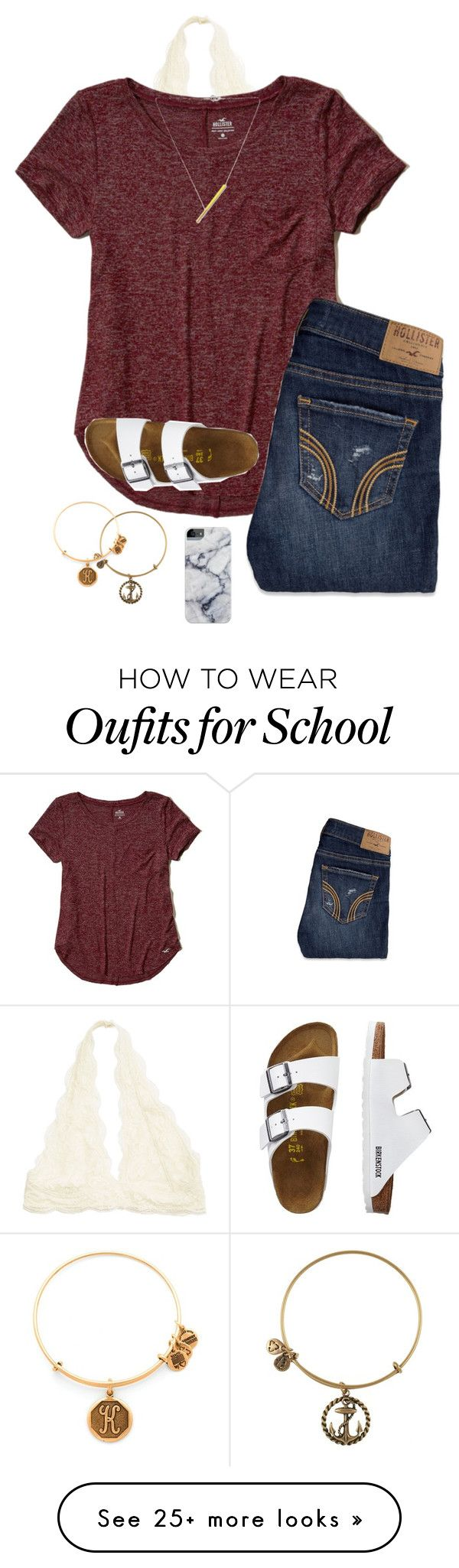 """School day"" by eadurbala08 on Polyvore featuring Hollister Co., TravelSmith, Alex and Ani and FAUX/real"