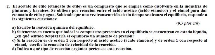 Ejercicio 2, propuesta 1, SETIEMBRE 2010-2011. Examen PAU de Química de Canarias. Contiene pregunta sobre CINÉTICA QUÍMICA.