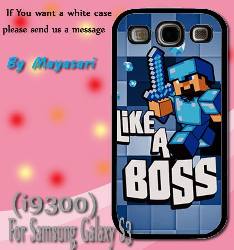 Minecraft Creeper Blue Like a Boss Print On Hard Plastic Samsung Galaxy S3 i9300, Black Case.  Start now! Personalize your Samsung S3 case by uploading your kid's, family photos, or your own selected