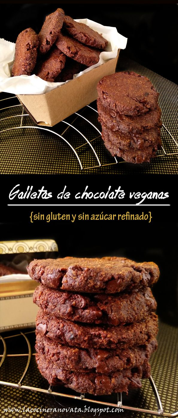 GALLETAS DE CHOCOLATE VEGANAS sin gluten y sin azúcar refinado Sweet Recipes, Vegan Recipes, Gluten Free Cookies, Deli, Healthy Snacks, Food Porn, Veggies, Sweets, Desserts