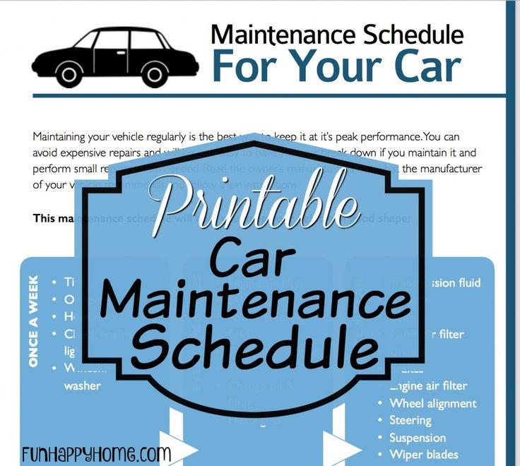 automobile maintenance schedule spreadsheet