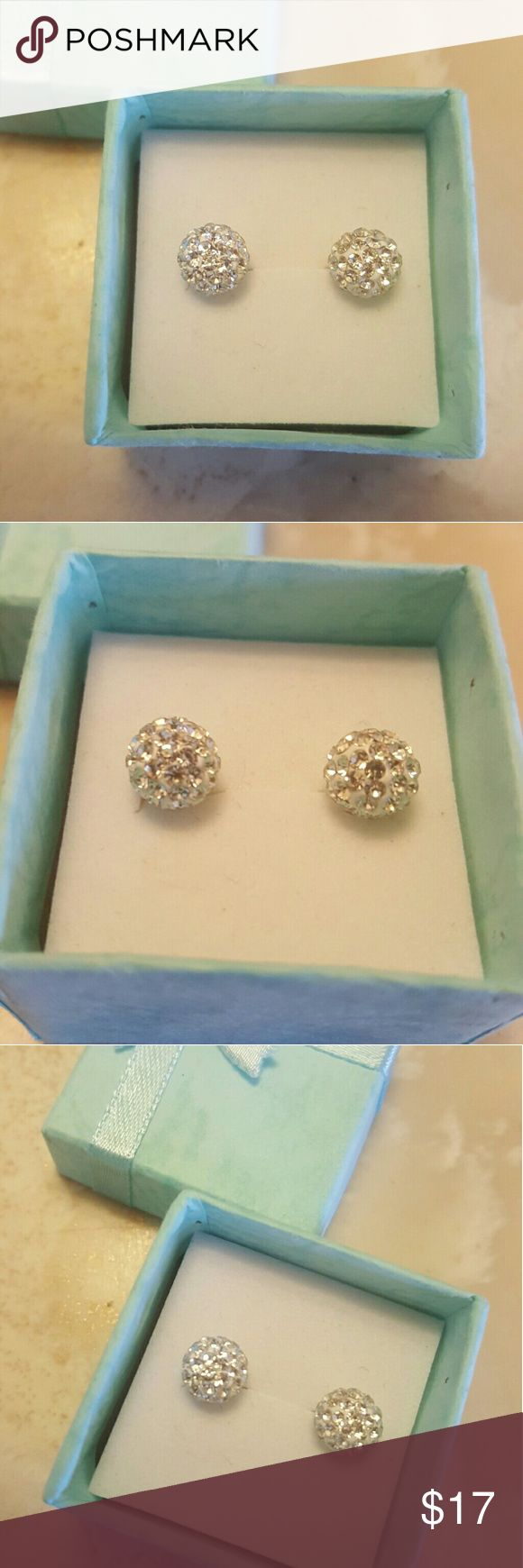 Crystal ball clear stud earrings Size 10mm New 100% brand new  2 pairs  Austrian Crystal clear  Sterling silver plated   ################################ Crystal are placed by hand thus creating variances ever between each piece  ********************************************* THANKS FOR SHOPPING FOR ME Jewelry Earrings