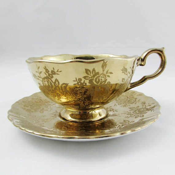 """Old Foley """"Gold Brocade"""" Tea Cup and Saucer, Gold Teacup and Saucer with Roses, Vintage Bone China"""