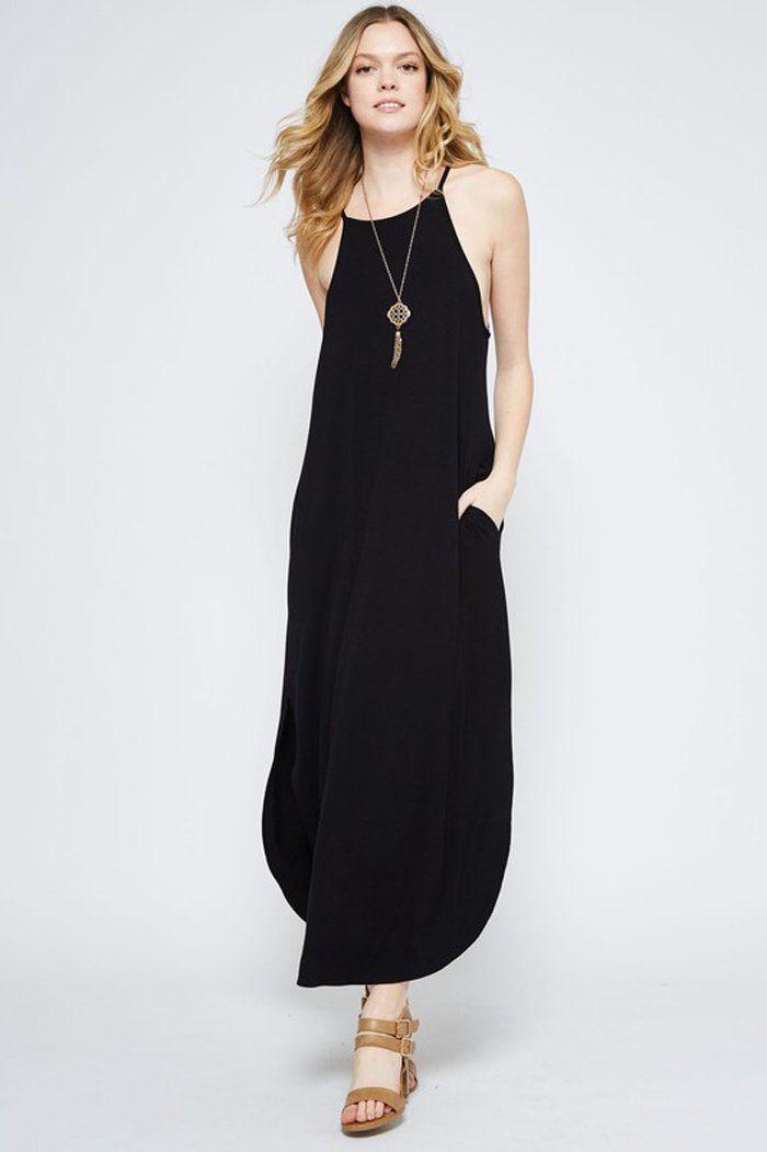 ec6e4c4338c GOZON Women s Solid Side Slit Spaghetti Straps Round Hem Maxi Dress – GOZON  Boutique