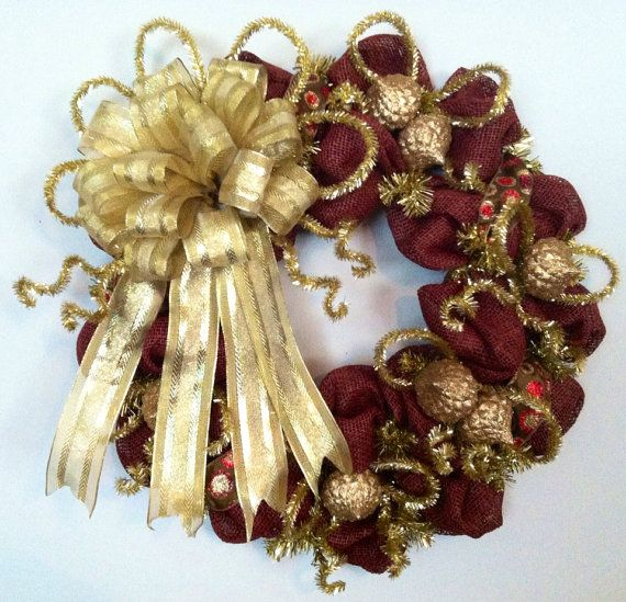 Burgundy and Gold Deco Paper Mesh Wreath