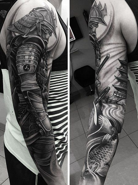Cool Black And Grey Samurai Tattoo On Man Right Full Sleeve