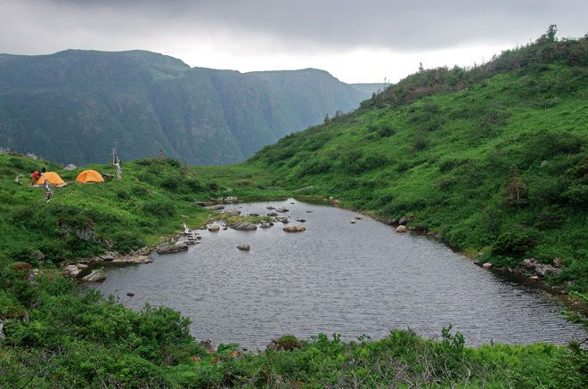 Camping at Ferry Gulch on the Long Range Traverse, Gros Morne National Park