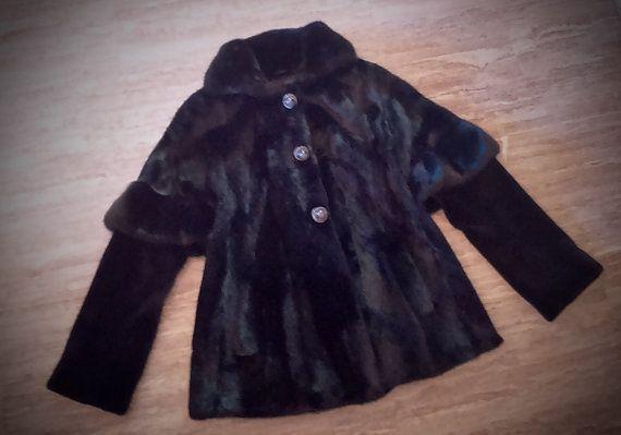 Fur Jacket/ Real fur/ Saga Mink fur/ black color