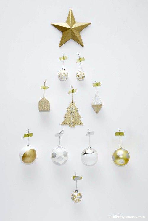 Click through for the full DIY instructions. Upcycle old Christmas baubles by painting a pattern on them with metallic paint. Round dab brushes are great for creating spots.