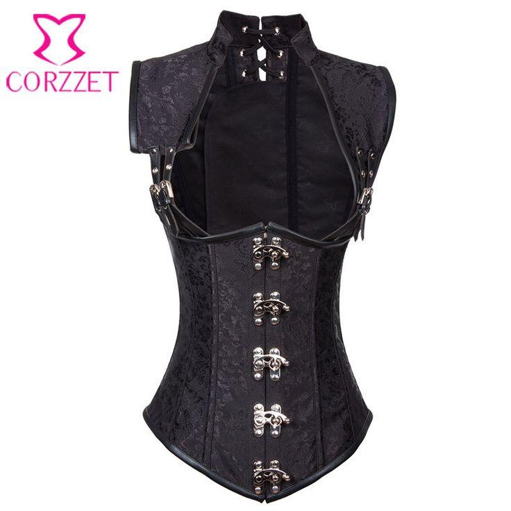 S-6XL Vintage Gothic Clothing Plus Size Black Armor Corselet Corset Burlesque Steampunk Corsets And Bustiers Korsett For Women – clothesgroup.net