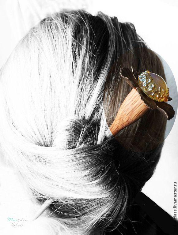 "Палочка для создания и декорирования прически ""Цветочная"" - Handmade glass, wood and bronze clay hair stick for hairstyle, MarLen Glass"