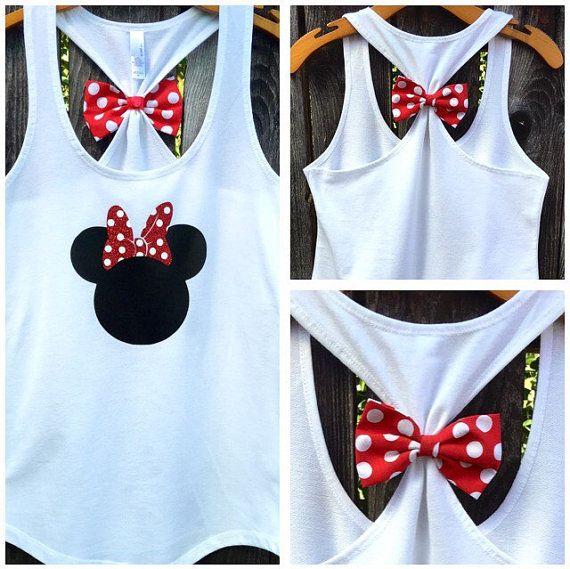 Minnie Mouse inspirado arco posterior tapa del tanque, mujer, Tee de Disney, Disney tanque, Racerback Tank, arco trasero tapa del tanque, brillo, Disney familia tes