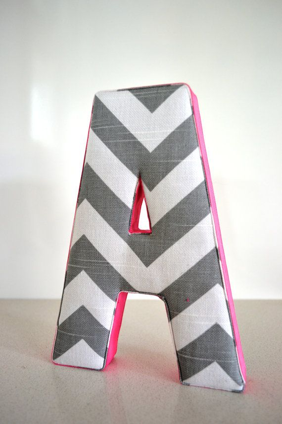 Hobby Lobby Chevron Wall Decor : Wall art personalised fabric letter a in grey chevron