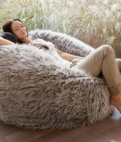 Deluxe Brown Faux Fur Bean Bag (Extra Large)