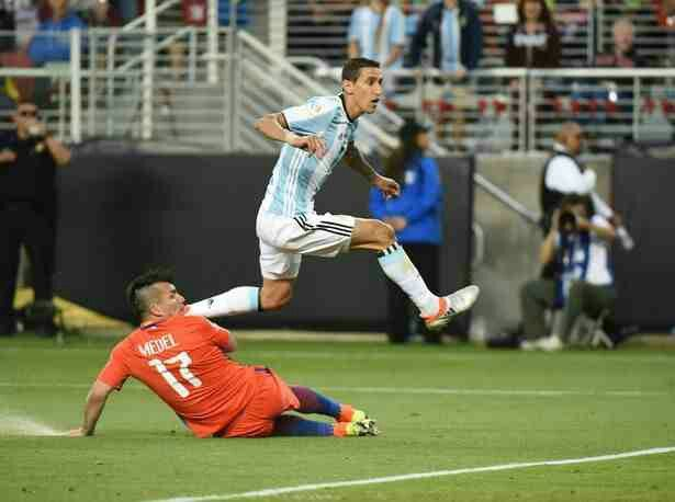 Argentina 2 Chile 1 in 2016 in Santa Clara. Angel Di Maria makes it 1-0 to Argentina on 51 minutes in Group D at Copa America.
