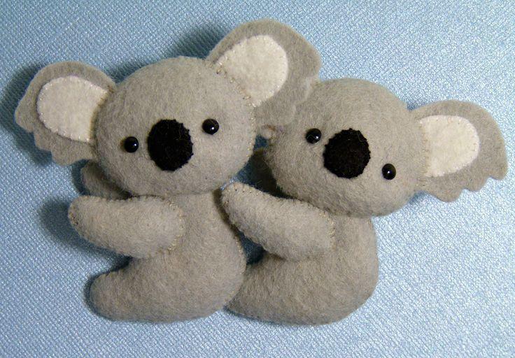 Handmade tiny wool felt koalas!