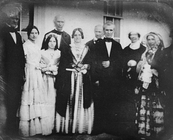 Interesting pic--James Buchanan on the far left, Sarah and James K. Polk in the center, and Dolly Madison is the blurred lady on the right