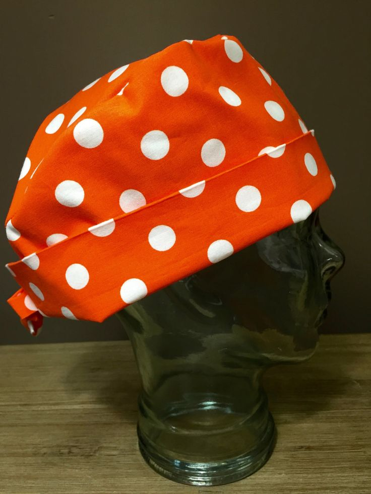 Orange Polka Dot Surgical Scrub Hat, Women's Halloween Pixie Scrub Hat, Custom…