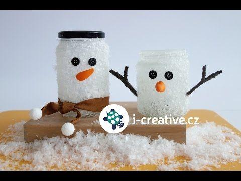 Snehuliakový svietnik - snehuliak z fľaše na zaváraniny - VIDEO Ako sa to robí.sk